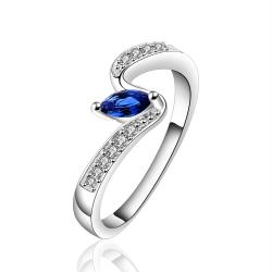 Vienna Jewelry Sterling Silver Petite Sapphire Gem Swirl Ring Size: 8 - Thumbnail 0