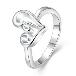 Vienna Jewelry Sterling Silver Abstract Curved Heart Shaped Petite Ring Size: 7 - Thumbnail 0