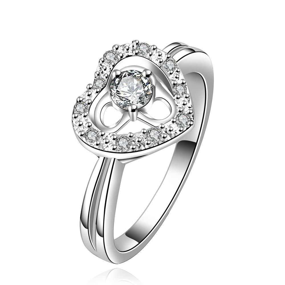 Vienna Jewelry Sterling Silver Hollow Heart Classic Crystal Gem Crystal Petite Ring Size: 8