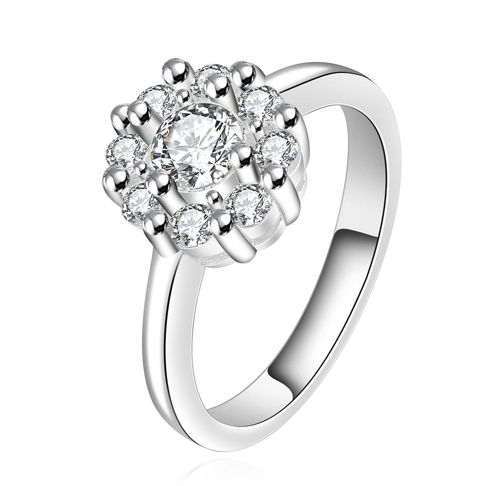 Vienna Jewelry Sterling Silver Classic Crystal Blossoming Ring Size: 7