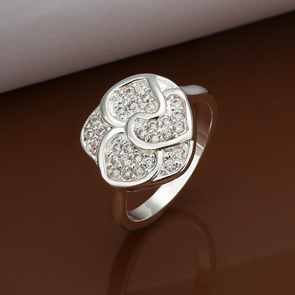 Vienna Jewelry Sterling Silver Petite Classic Jewel Blossoming Floral Ring Size: 8