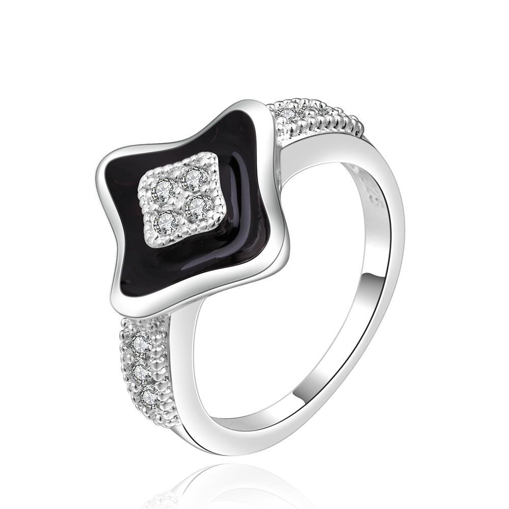 Vienna Jewelry Sterling Silver Diamond Shaped Onyx Plating Ring Size: 8