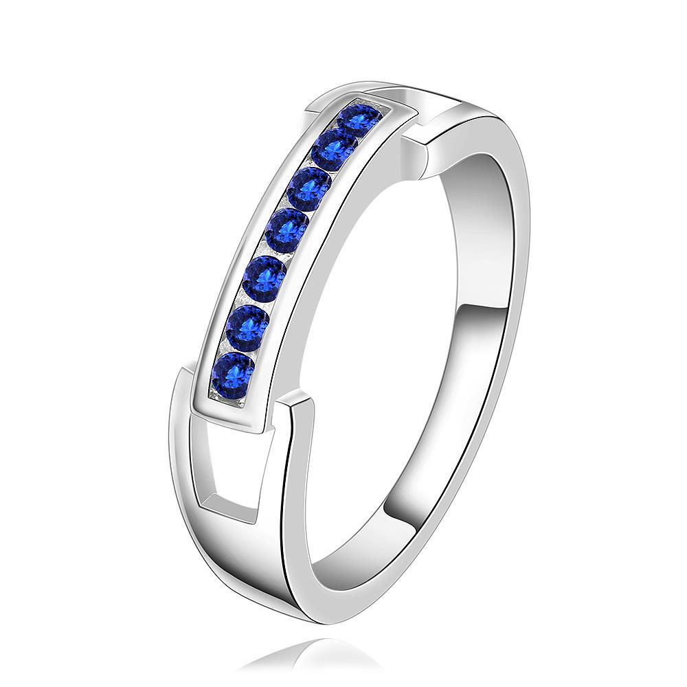 Vienna Jewelry Sterling Silver Sapphire Classic Lining Ring Size: 8