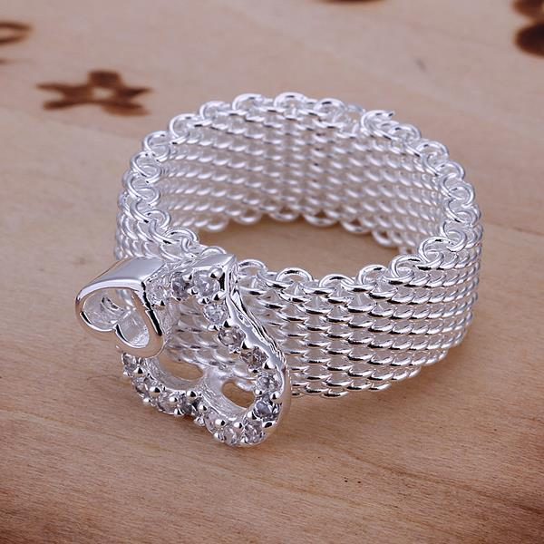 Vienna Jewelry Duo-Heart Shaped Sterling Silver Mesh Ring Size: 8