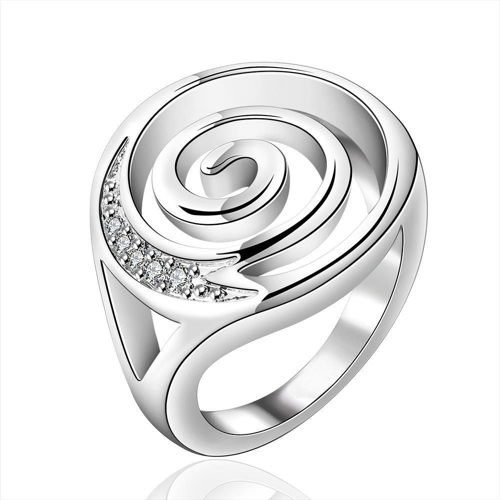 Vienna Jewelry Sterling Silver Swirl Design Emblem Modern Ring Size: 8