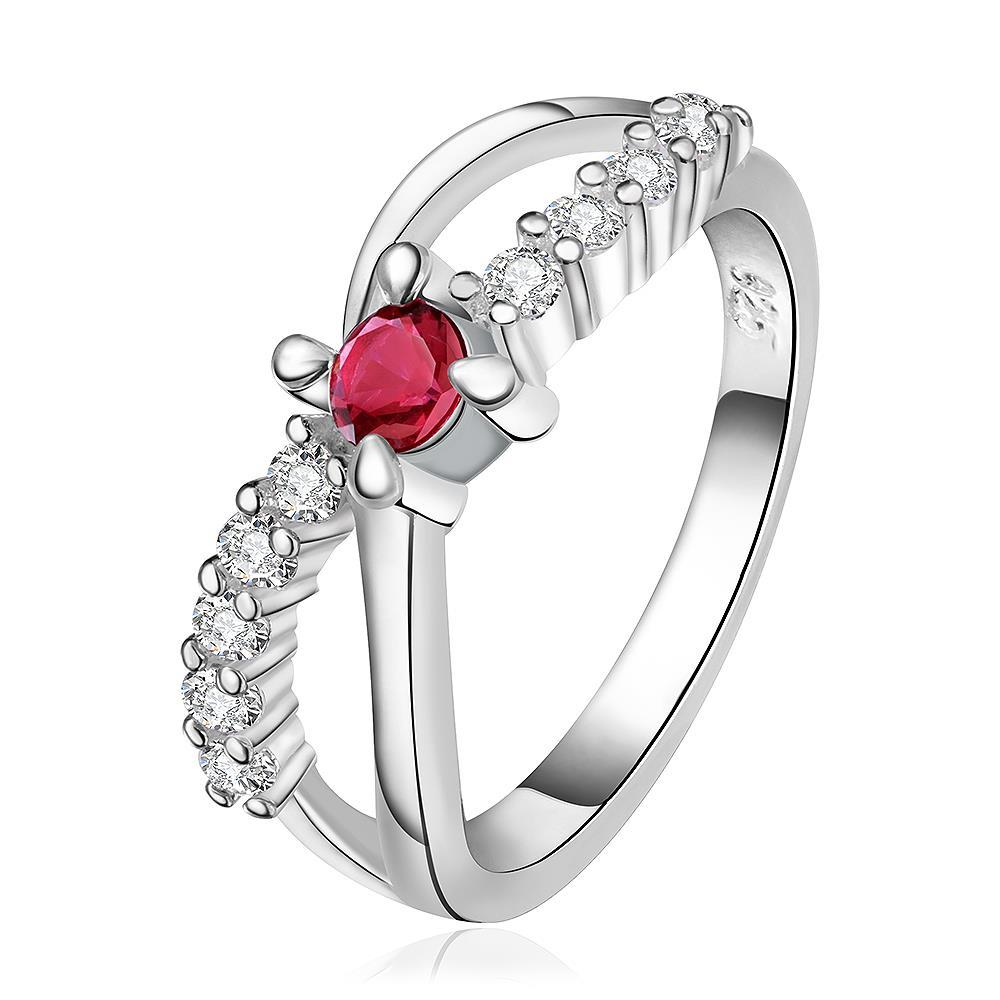 Vienna Jewelry Sterling Silver Curved Ruby Gem Jewels Lining Ring Size: 8