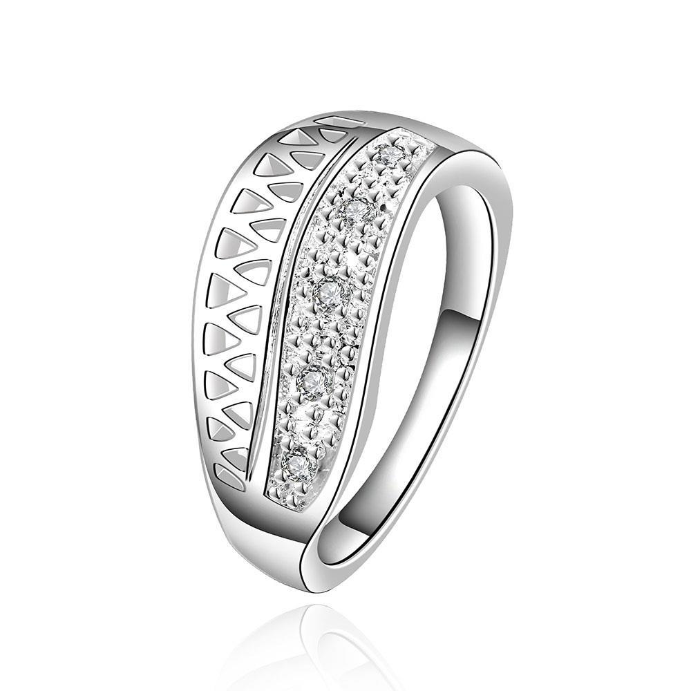 Vienna Jewelry Sterling Silver Half Laser Cut Petite Ring Size: 8