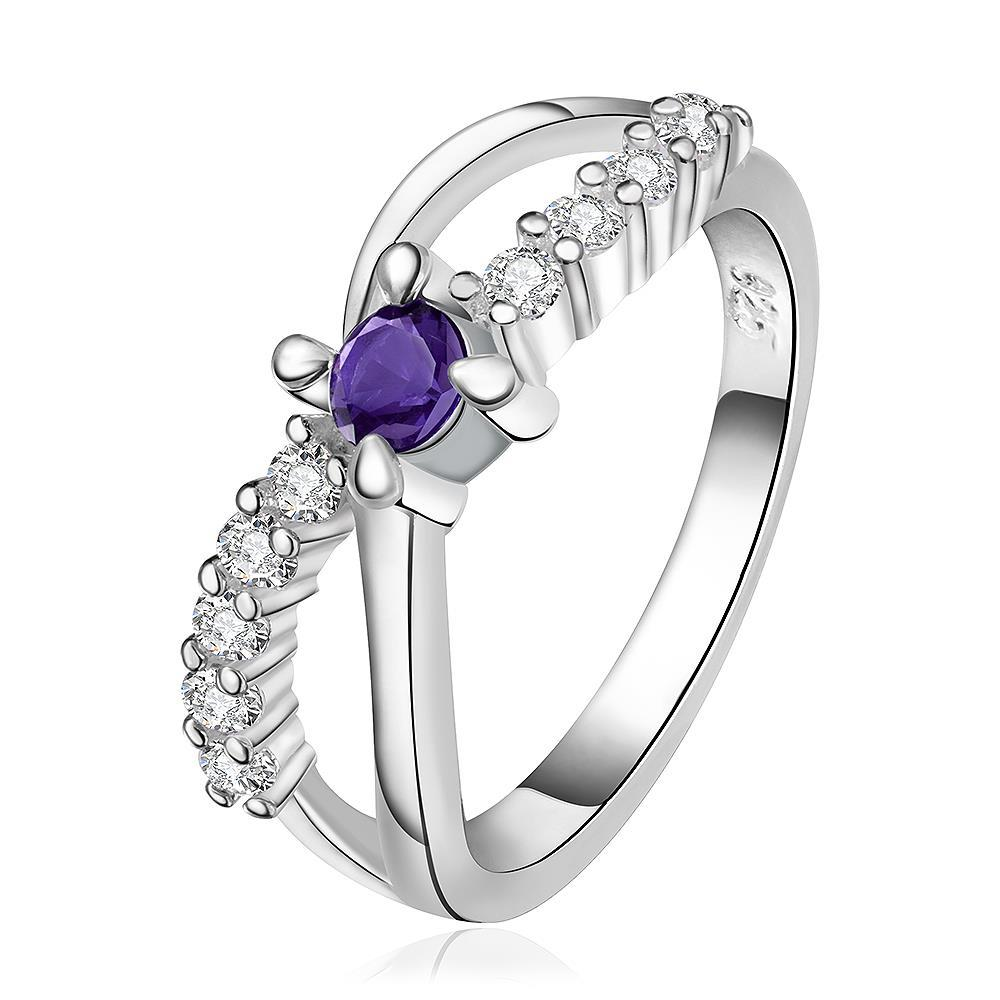 Vienna Jewelry Sterling Silver Curved Purple Citrine Jewels Lining Ring Size: 8