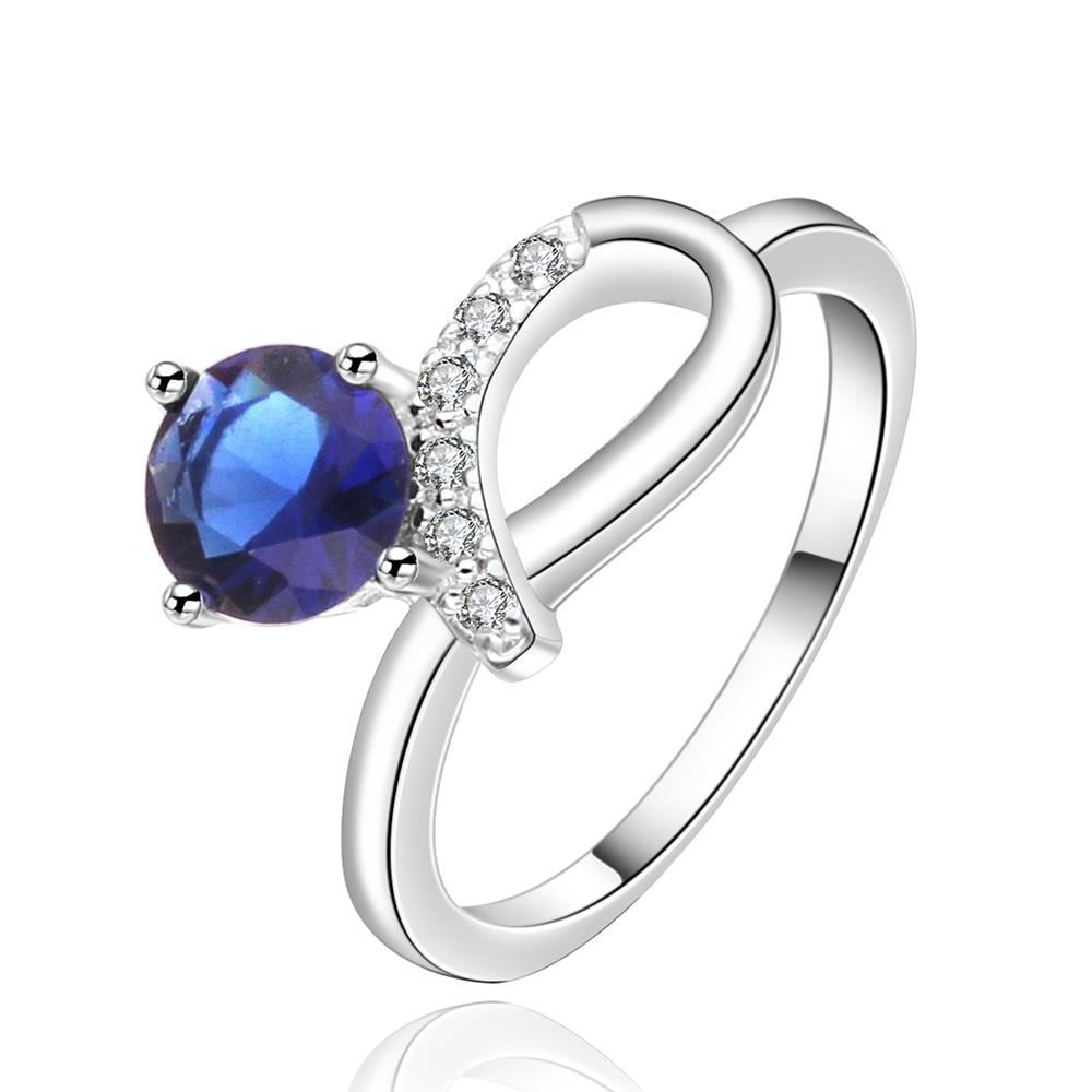 Vienna Jewelry Sterling Silver Swirl Mock Sapphire Jewel Curved Ring Size: 8