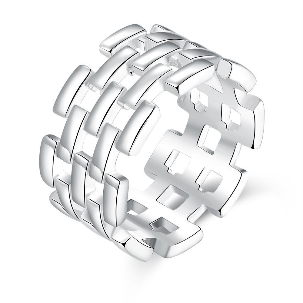Vienna Jewelry Sterling Silver Laser Cut Horizontal Cut Band Size: 8