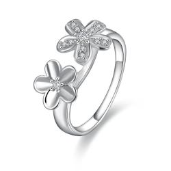 Vienna Jewelry Sterling Silver Duo-Clover Petite Ring Size: 8 - Thumbnail 0