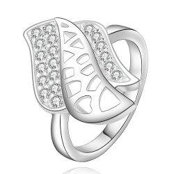 Vienna Jewelry Sterling Silver Laser Cut Floral Petal Ring Size: 8 - Thumbnail 0