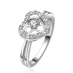 Vienna Jewelry Sterling Silver Hollow Heart Classic Crystal Gem Crystal Petite Ring Size: 8 - Thumbnail 0