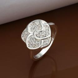 Vienna Jewelry Sterling Silver Petite Classic Jewel Blossoming Floral Ring Size: 8 - Thumbnail 0