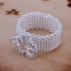 Vienna Jewelry Duo-Heart Shaped Sterling Silver Mesh Ring Size: 8 - Thumbnail 0