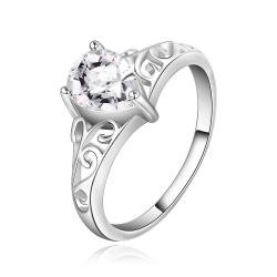 Vienna Jewelry Sterling Silver Laser Ingrain Crystal Center Ring Size: 7 - Thumbnail 0