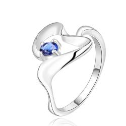 Vienna Jewelry Sterling Silver Mock Sapphire Abstract Curved Petite Ring Size: 8 - Thumbnail 0