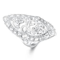 Vienna Jewelry Sterling Silver Laser Cut Mid Size Ring Size: 8 - Thumbnail 0