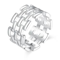Vienna Jewelry Sterling Silver Laser Cut Horizontal Cut Band Size: 8 - Thumbnail 0
