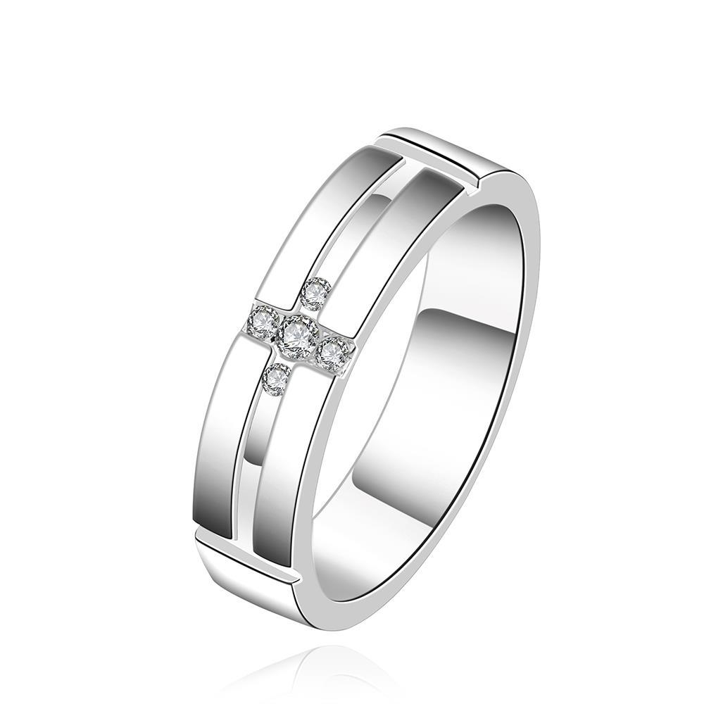 Vienna Jewelry Sterling Silver Cross Design Crystal Ring Size: 8