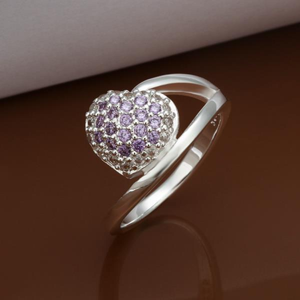 Vienna Jewelry Sterling Silver Purple Citrine Pav'e Swirl Ring Size: 8
