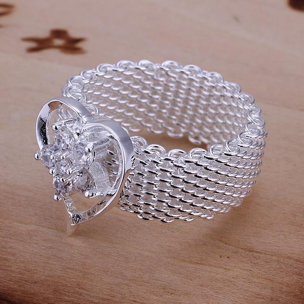 Vienna Jewelry Sterling Silver Mesh Ring Snowflake Heart Shaped Ring Size: 8