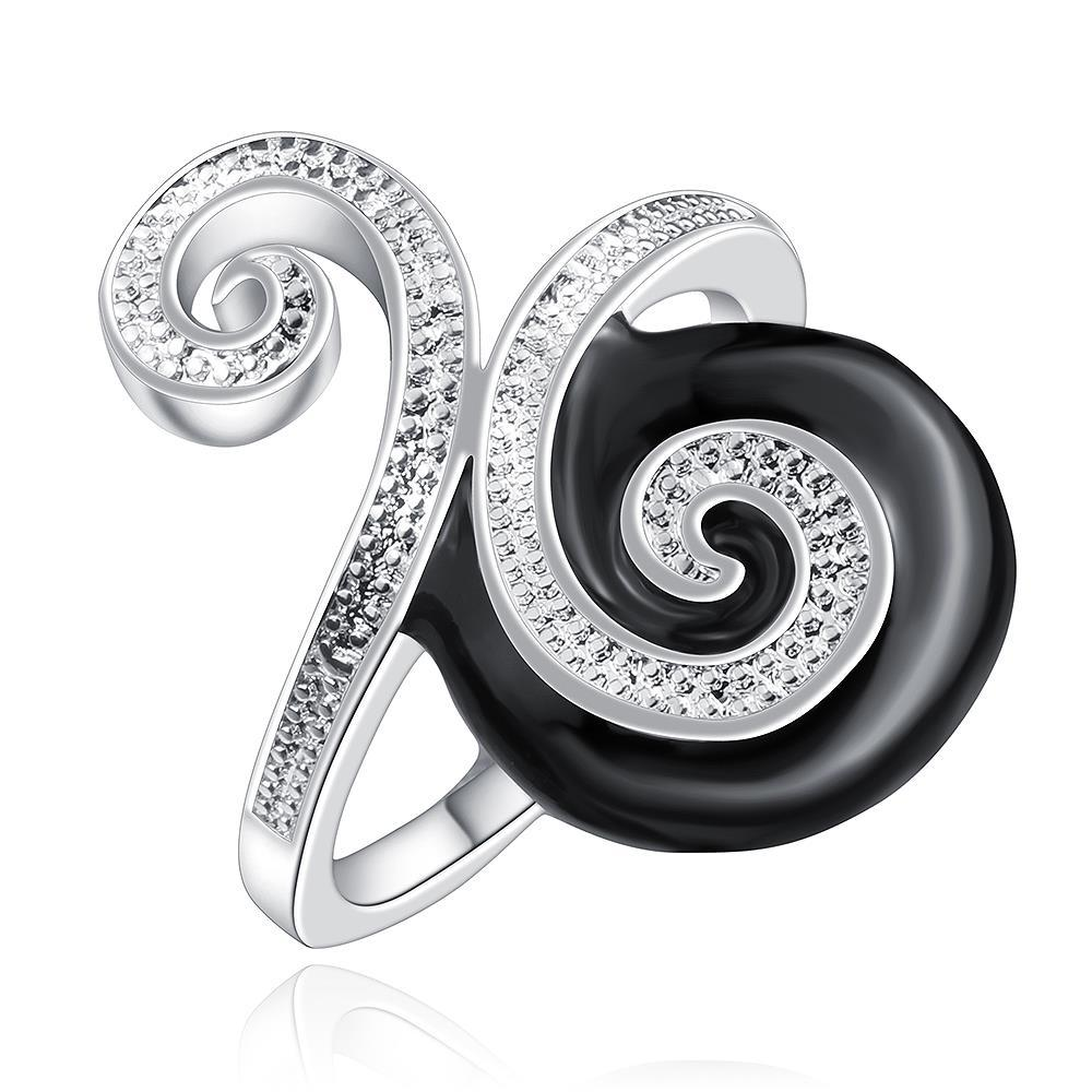 Vienna Jewelry Sterling Silver Onyx & Jewels Swirl Design Petite Ring Size: 7