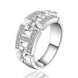 Vienna Jewelry Sterling Silver Interlocking Band Ring Size: 7 - Thumbnail 0