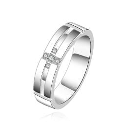 Vienna Jewelry Sterling Silver Cross Design Crystal Ring Size: 7 - Thumbnail 0
