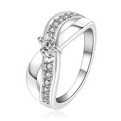 Vienna Jewelry Sterling Silver Curved Lining Jewels Covering Petite Ring Size: 7 - Thumbnail 0