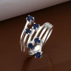 Vienna Jewelry Muli Mock Sapphire Swirl Lining Ring Size: 8 - Thumbnail 0