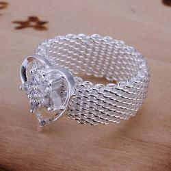 Vienna Jewelry Sterling Silver Mesh Ring Snowflake Heart Shaped Ring Size: 8 - Thumbnail 0