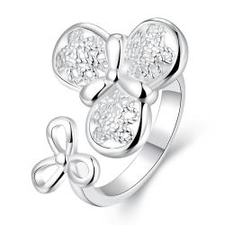 Vienna Jewelry Sterling Silver Petite Duo-Clover Modern Ring Size: 8 - Thumbnail 0