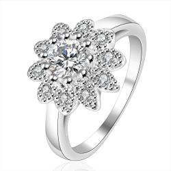 Vienna Jewelry Sterling Silver Crystal Blossoming Clover Petite Ring Size: 8 - Thumbnail 0
