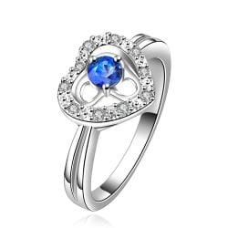 Vienna Jewelry Sterling Silver Hollow Heart Sapphire Gem Crystal Petite Ring Size: 8 - Thumbnail 0