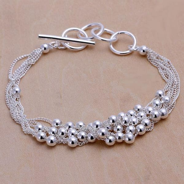 Vienna Jewelry Sterling Silver Multi-Orchid Clasp Closure Bracelet