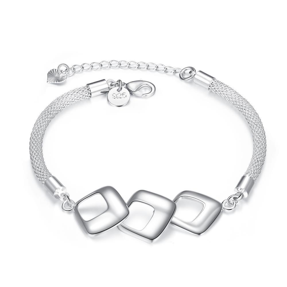 Vienna Jewelry Sterling Silver Trio-Hollow Square Connecting Bracelet