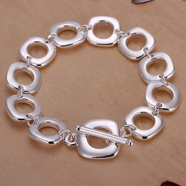 Vienna Jewelry Sterling Silver Hollow Square Surronding Bracelet