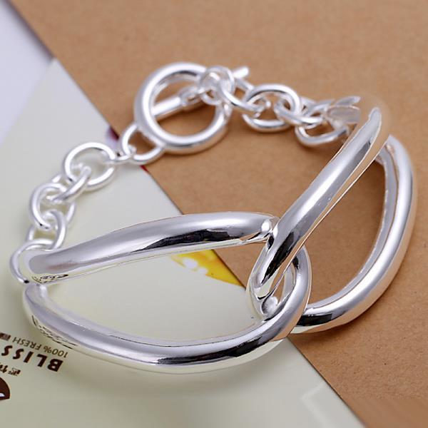Vienna Jewelry Sterling Silver Duo-Linked Bracelet