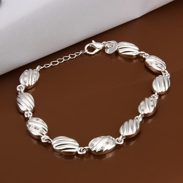 Vienna Jewelry Sterling Silver Large Sea Shell Connected Bracelet