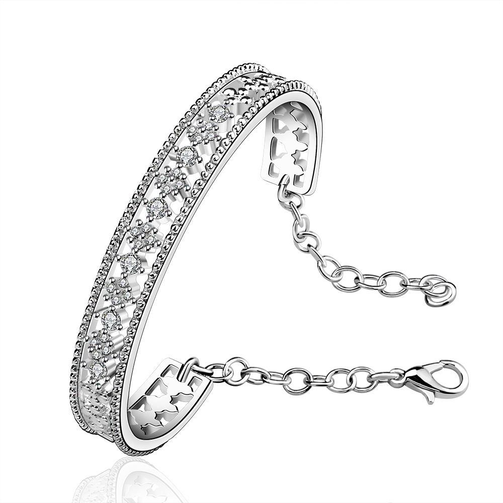 Sterling Silver Laser Cut Open Bangle with Chain