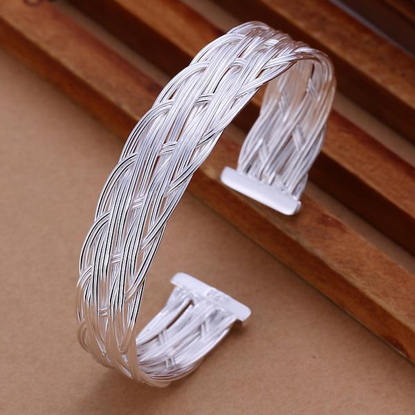 Sterling Silver Intertwined Layering Open Bangle