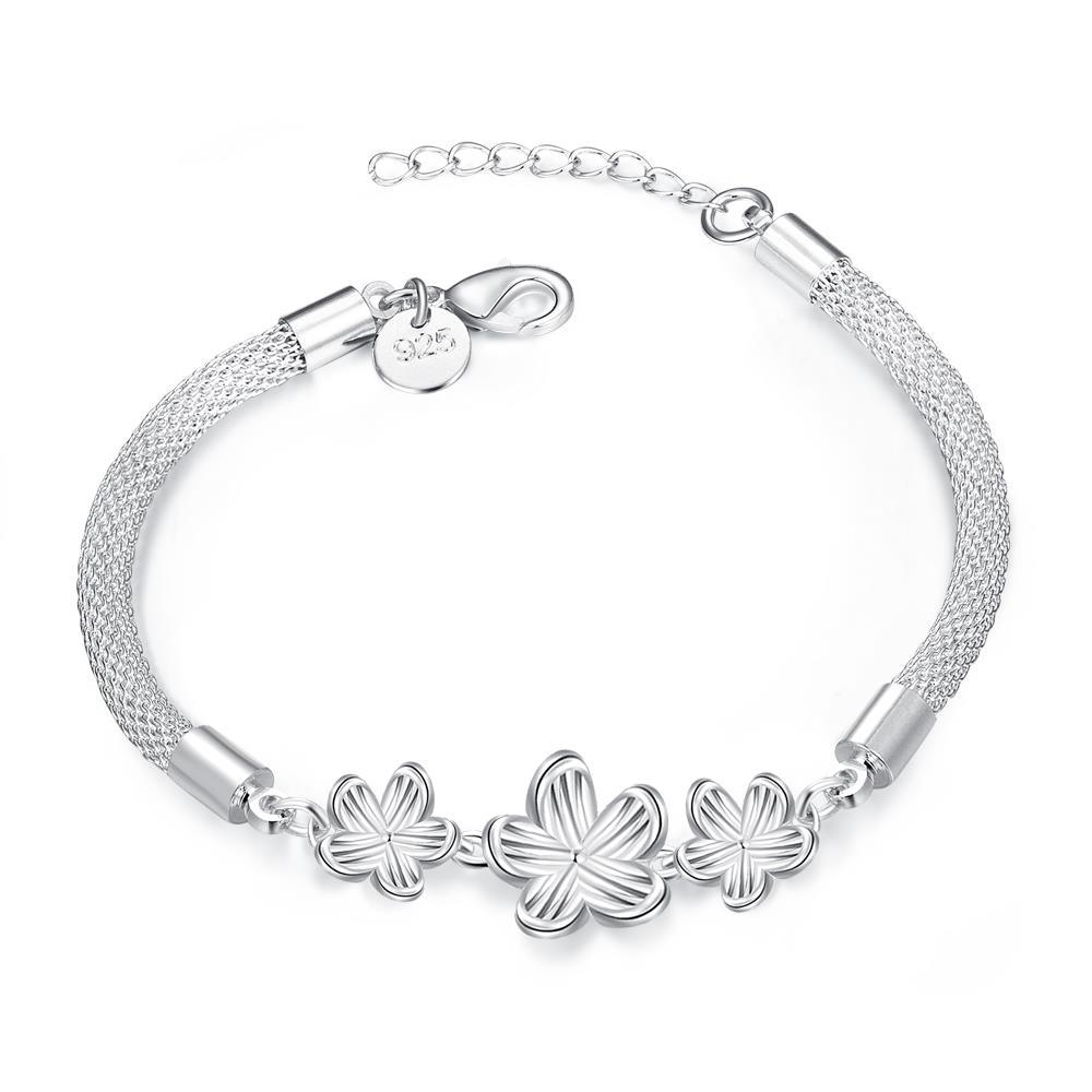 Vienna Jewelry Sterling Silver Trio-Floral Petal Connecting Bracelet