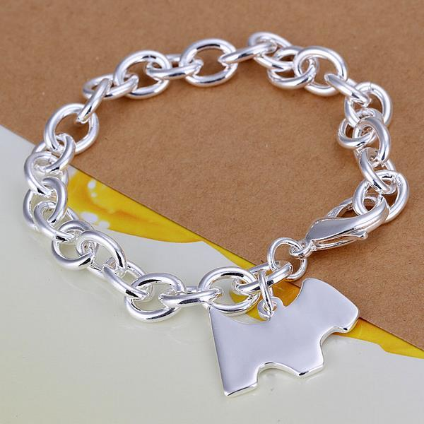 Vienna Jewelry Sterling Silver Petite Puppy Emblem Bracelet