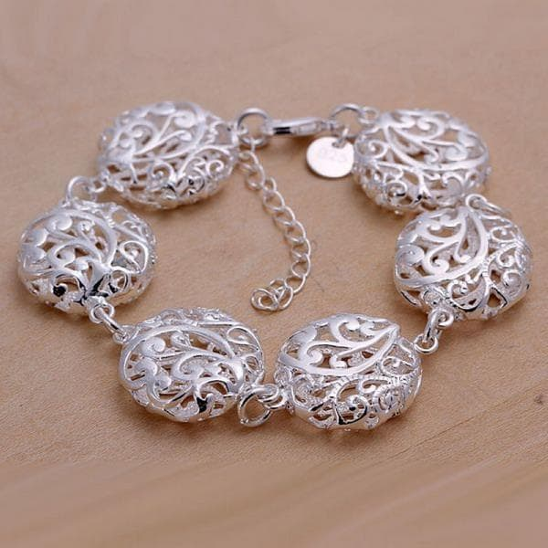 Vienna Jewelry Sterling Silver Multi Laser Cut Ball Bracelet - Thumbnail 0