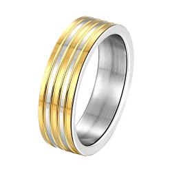 Vienna Jewelry Sterling Silver Multi Layered Gold Classical Band Size: 9 - Thumbnail 0
