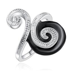 Vienna Jewelry Sterling Silver Onyx & Jewels Swirl Design Petite Ring Size: 7 - Thumbnail 0