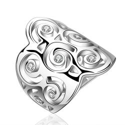 Vienna Jewelry Sterling Silver Swirl Design Crown Ring Size: 7 - Thumbnail 0