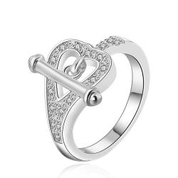 Vienna Jewelry Sterling Silver Heart Shaped Clasp Petite Ring Size: 8 - Thumbnail 0