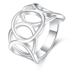 Vienna Jewelry Sterling Silver Laser Cut Hollow Circular Ring Size: 8 - Thumbnail 0